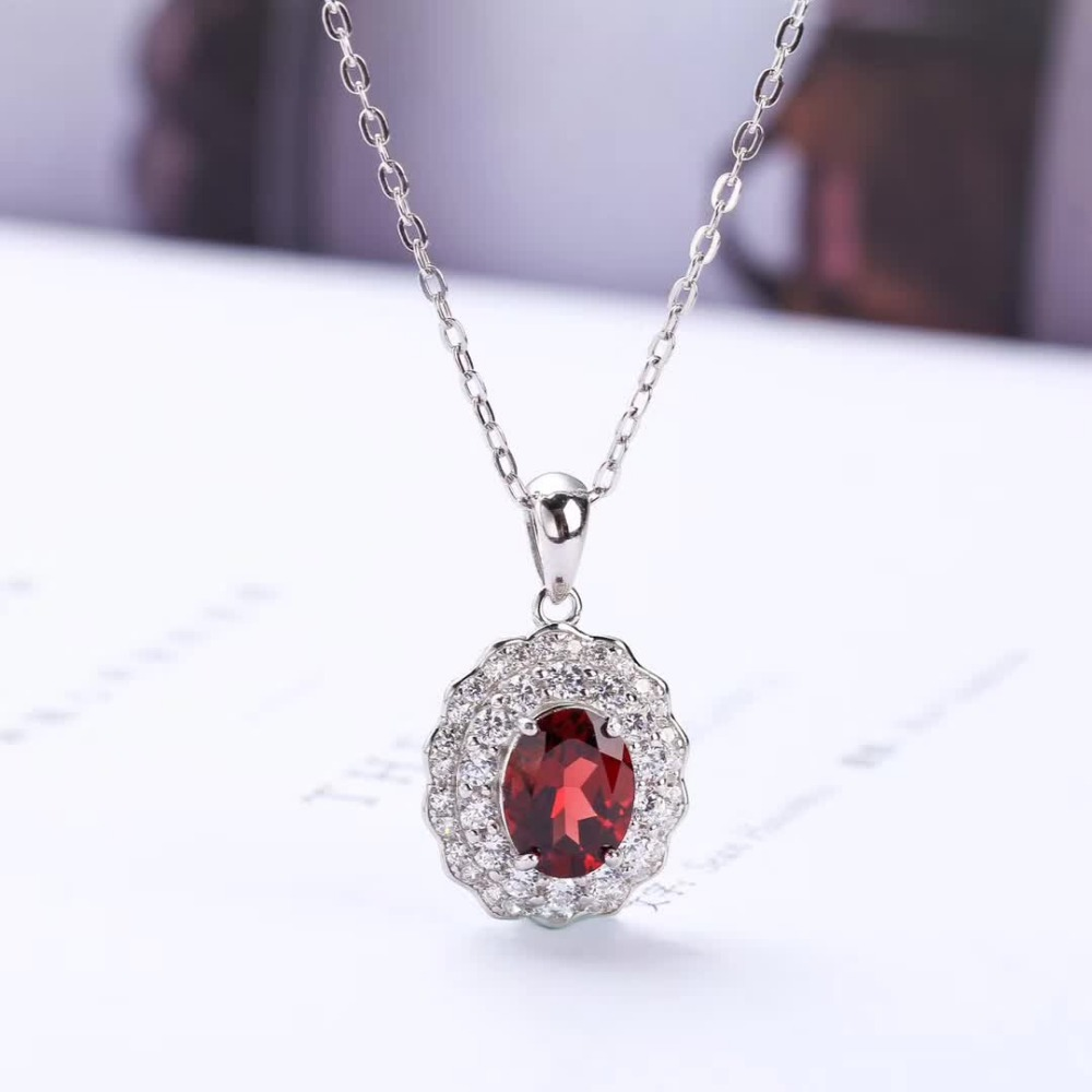 gem jewelry manufacturer fashionable white 925 sterling silver natural red garnet pendant necklace for female