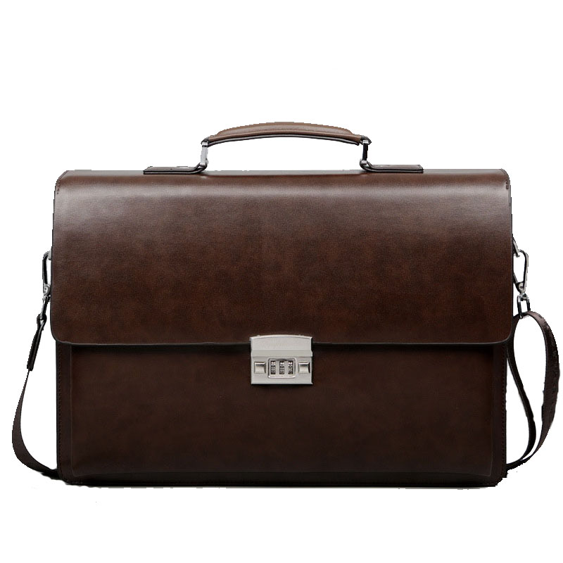 Business Man Bag Theftproof Lock PU Leather Briefcase For Man Pure Bank OL Mens Briefcase Bag Dress Man Handbag(China)