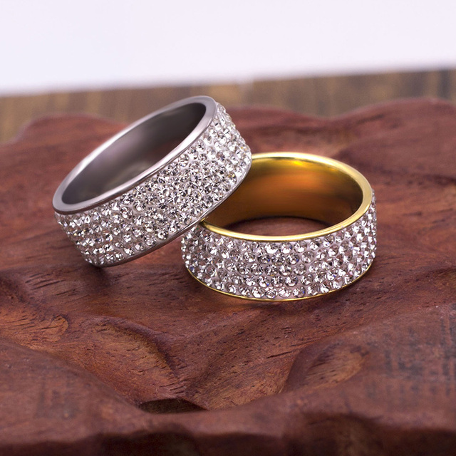 Stainless Steel 5 Rows Crystal Ring for Women Wedding Stainless Steel Crystal Rings for Women Men Lady
