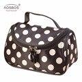 Aosbos manera de las mujeres de punto bolsas de cosméticos profesionales de gran capacidad de la bolsa de aseo portátil bolsas de viaje de almacenamiento con cremallera para las mujeres