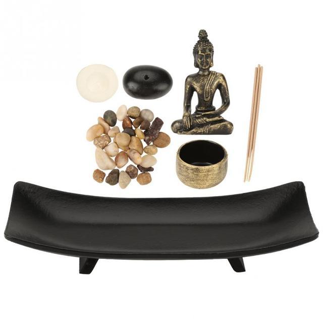 Zen Garden Office Decor Feng Shui Resin Figurine Relax Buddhism Candlestick Incense Burner Sand Table Home Decoration