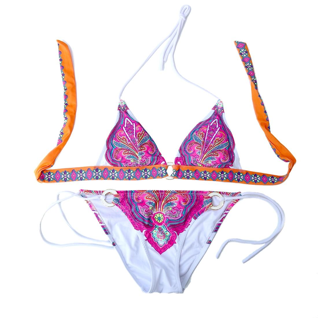 Women Bikini Pink Print Bikinis Swimsuit Vintage Swimming Suit Female Bathing Suit Sexy Swimwear Design Secret Thick Brazilian
