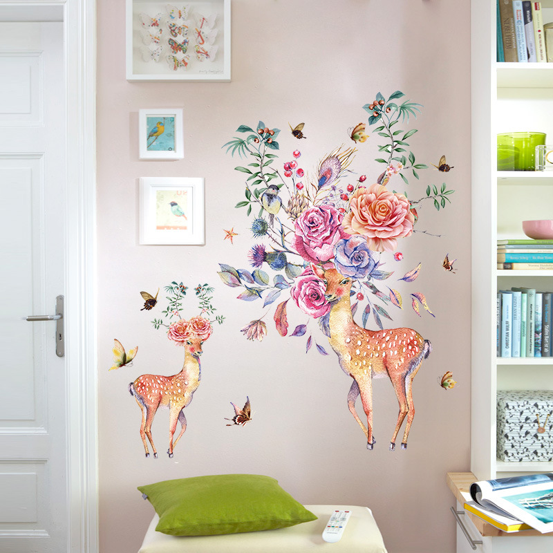 Colorful Flowers Birds Deer Head Wall Stickers Living Room Bedroom Wall Decals Home Decor Creative Animals Wall Mural Poster Art in Wall Stickers from Home Garden