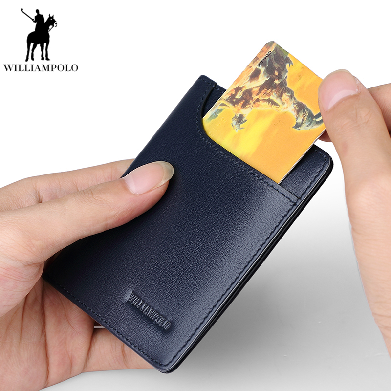 WILLIAMPOLO 2018 אופנה מותג גברים ארנקים עור אמיתי slim bifold כרטיס אשראי מחזיק זכר כיס ארנק זכר מצמד PL296