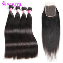 hot deal buy shuangya hair brazilian straight human hair bundles with closure middle part 3 bundles with lace closure  non remy hair weaves