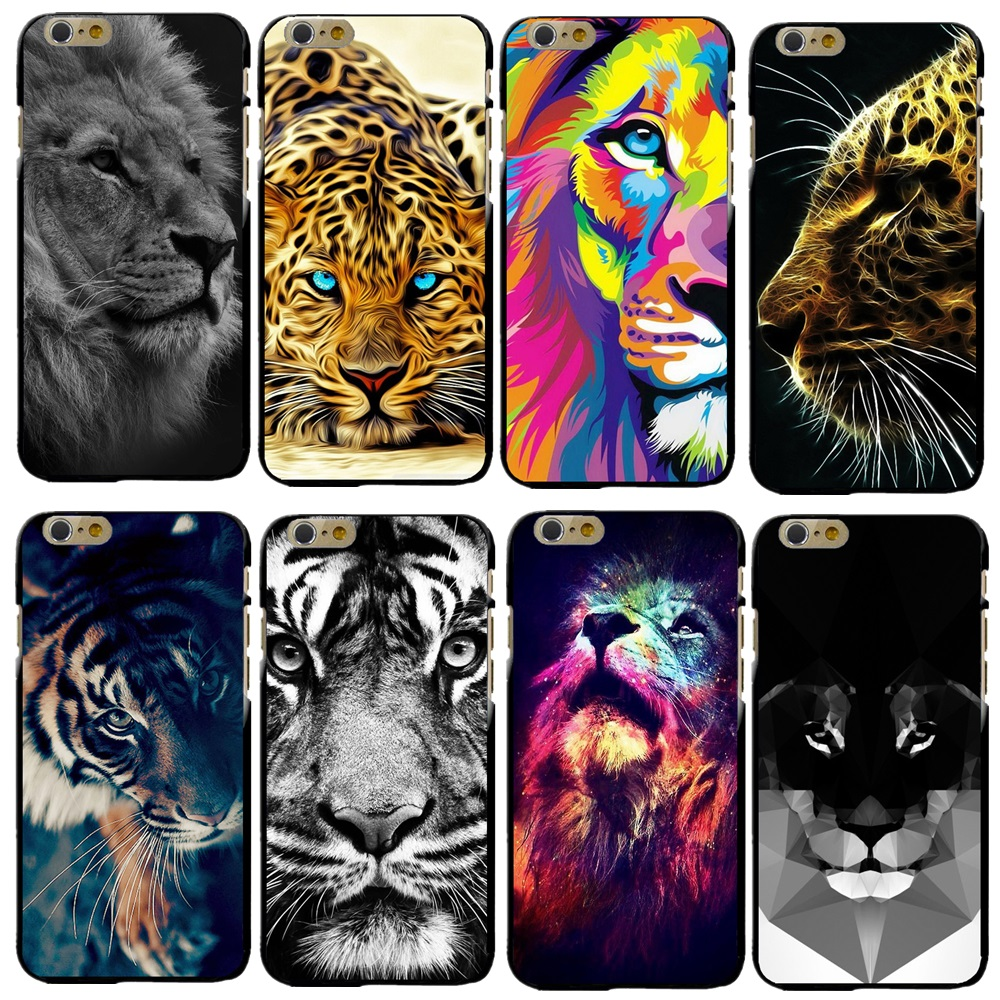 Lion <font><b>Tiger</b></font> Design Abdeckung Fall Für Apple <font><b>iPhone</b></font> <font><b>X</b></font> <font><b>XS</b></font> <font><b>Max</b></font> XR 4 4 S 5 5 S SE 5C 6 6 S 7 8 Plus Hartplastik Telefon Abdeckung Coque Capa image