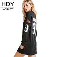 HDY Women's Dress T shirt Black Dress for Women 2019 Party Long Sleeve Summer Dress Letter Mesh Sheer Dresses Casual