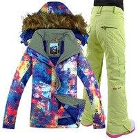 Лыжный костюм, открытый, новый Водонепроницаемый, утолщение, меховой воротник, дудлы, gsou снег лыжный костюм Для женщин ветрозащитный дышащи...
