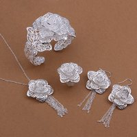 Wholesale Jewelry 925 Silver Jewelry Set 925 Sterling Silver Fashion Jewelry Flower Necklace Bangle Earring Ring