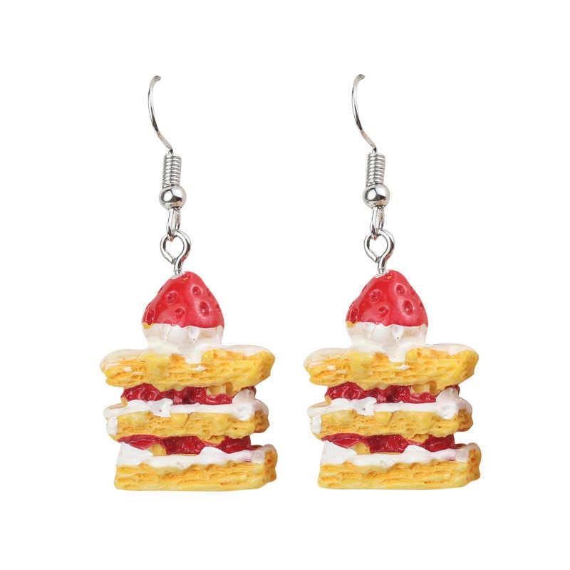 Desenhos animados do alimento bolo brinco pipoca chocolate cookies ovo morango donuts bonito engraçado mulheres liga brincos de jóias personalizadas