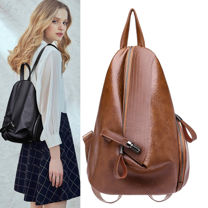 2018 New Backpack Women Leather Backpack Backpack Leather Fashion Multi-functional Student Bag Triangle Bag Zongzi Bag
