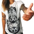 VESTLINDA Summer White T shirt Women Tops Hamsa Hand 3D Print T-Shirt Femme OWL Tshirt Graphic Tees Women Punk Rock Clothing