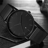Черные наручные часы Для мужчин мужские наручные часы в деловом стиле Стиль наручные часы из нержавеющей стали Кварцевые часы для Для мужчи...
