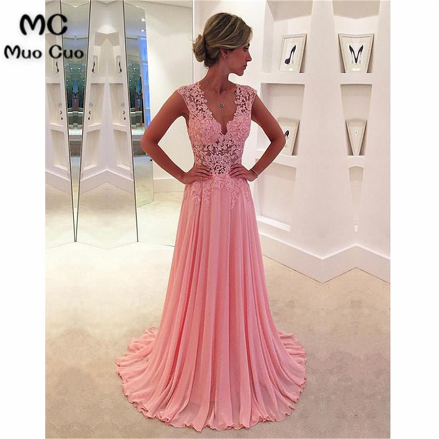 2018 Blush Pink   Evening     Dresses   Long Deep V-Neck Chiffon Floor Length Appliques See Though Formal   Evening   Party   Dress   for Women