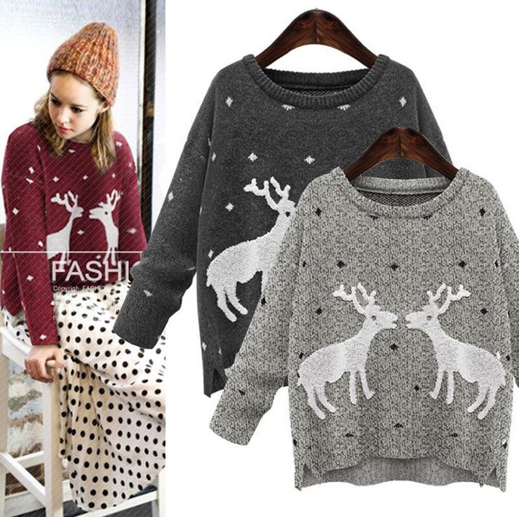 Snowflake Jumper Knitting Pattern : 2015 Winter Womens Casual O Neck Snowflake Deer Pattern Knit Jumper Pullover ...