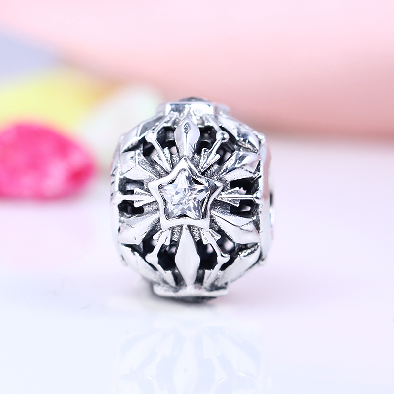 Authentic 100% 925 Sterling Silver Fit Original Pandora Bracelet Snowflake Flower Star CZ Charm Beads for Jewelry Making