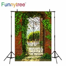 Funnytree Backdrop For Photo Studio Vintage Gate Green Leafs Garden  Background