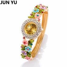 JUNYU 18 K Oro Moda de Las Mujeres Reloj de Cuarzo Reloj de pulsera de Cristal Dial Redondo Relojes de Vestir Casual de Las Señoras 4 Colores