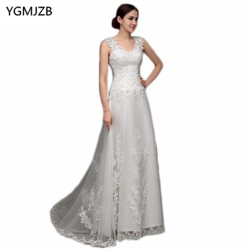 Simple plage robe De mariée Boho dentelle Appliques Cap manches transparent dos robe De mariée robes De mariée Vestido De Noiva 2018