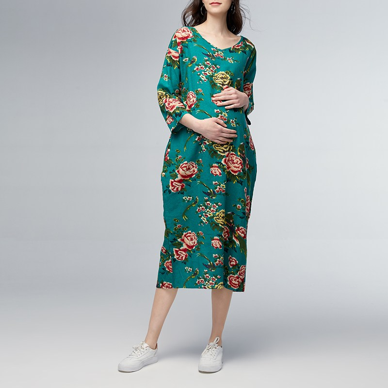 Maternity Clothing Casual Loose Ankle-length Dress 2018 Pregnant Women V Neck 3/4 Sleeve Floral Printed Vestidos Plus Size 5XL