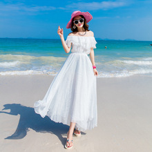 2017 Womens vocation Sunscreen White Long Chiffon dress Bohemian Beach Casual Short Sleeve Slash neck 6601