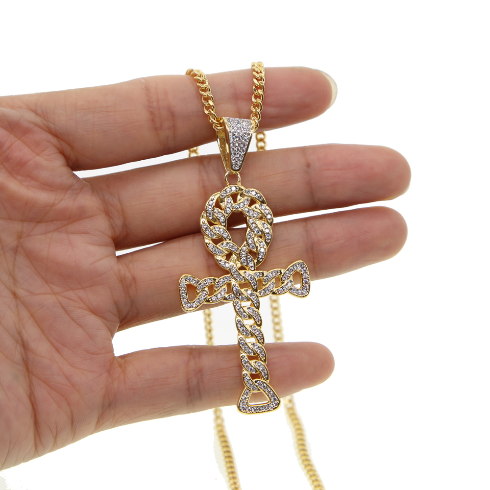 24 cuban link chain Ankh Egyptian Religious Rock Cross pendant iced out cz Miami  chain shaped 741f4179a70e