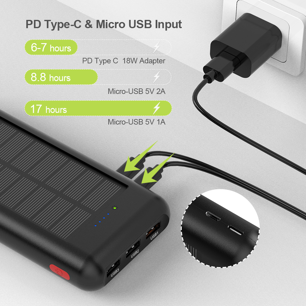 Image 3 - Allpowers 新加入 24000 mah 太陽光発電銀行ポータブル外部バッテリーソーラー powerbank の充電器電話 -    グループ上の 携帯電話