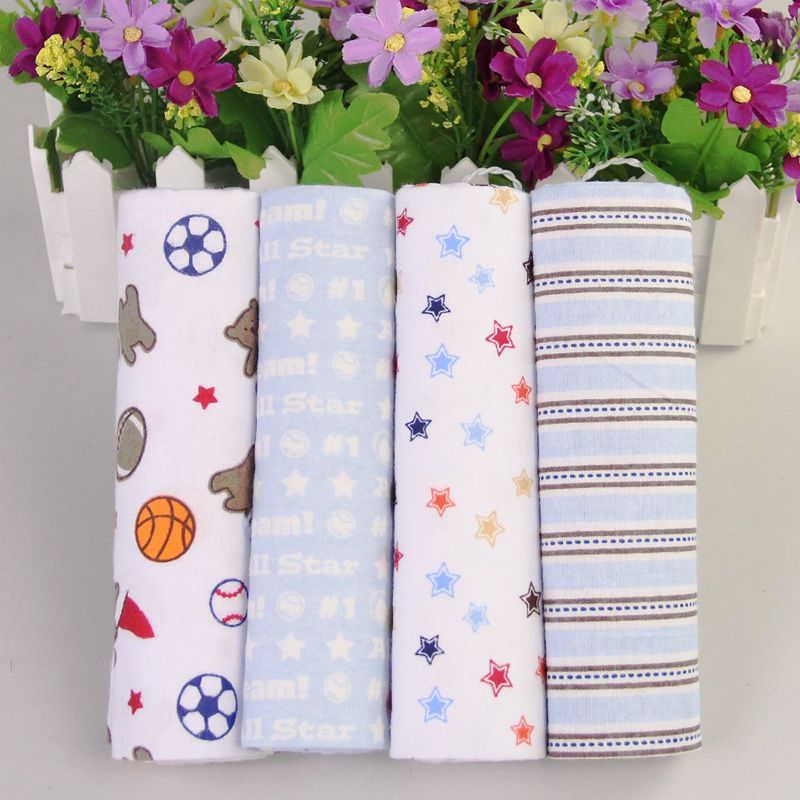 Baby Blanket 100% cotton Multifunctional super soft Newborn Baby Receiving Blanket  76x76cm infant bedsheet 4pcs/pack