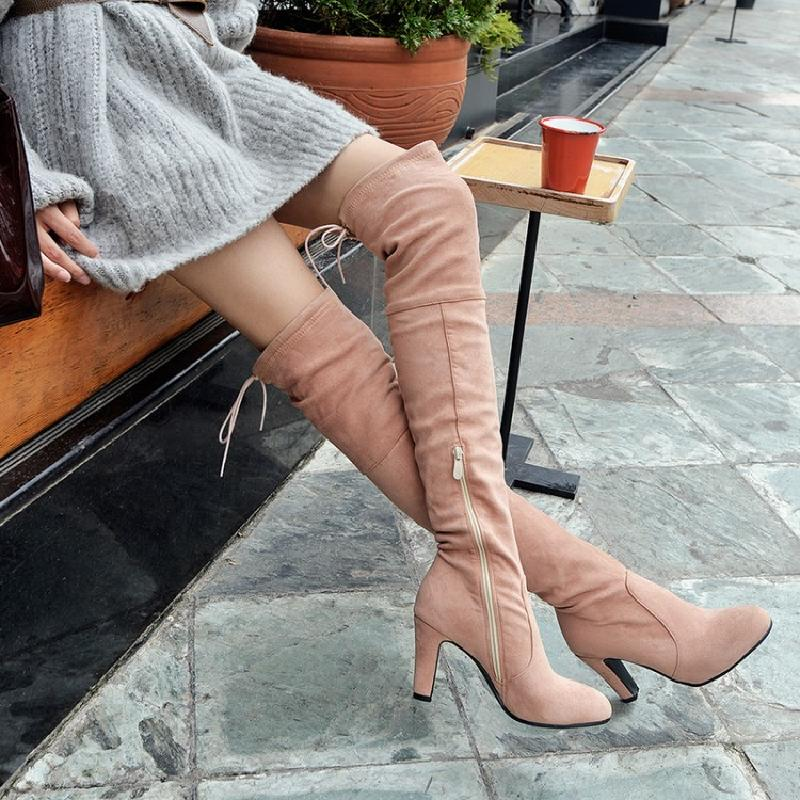 winter boots women over the knee boots high heel boots female 2017 autumn boots sexy ladies shoes woman free shipping &1310 women over the knee boots black velvet long boots ladies high heel boots sexy winter shoes chunky heel thigh high boots