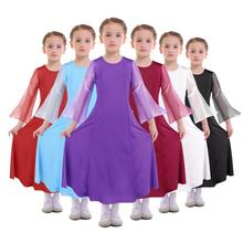 Elegant Praise Dress for Girls Child Chiffon Spliced Long Sleeve Liturgical Dance Wear kids Ballet