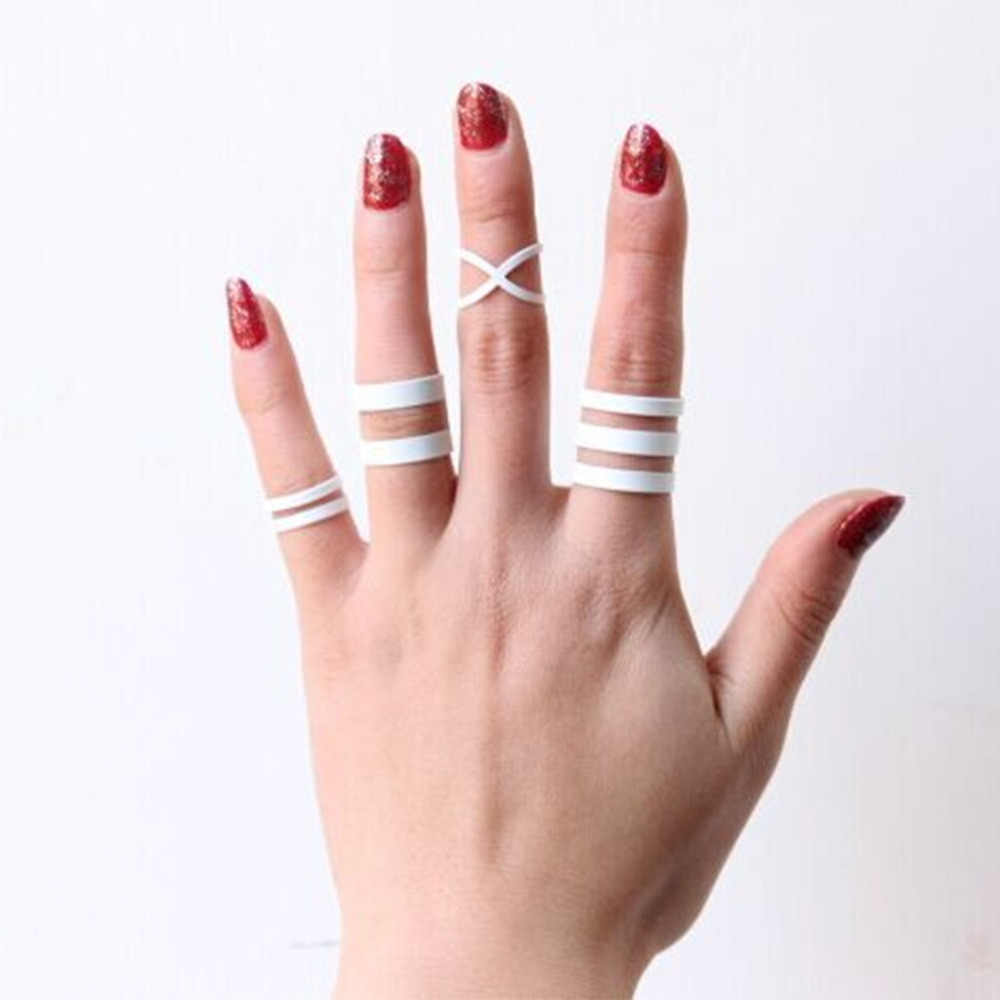 4 pieces/set Hollow White Metal Cross Rings Open Midi Knuckle Ring Set For Women Mid Finger Jewelry Accessories Adjustable