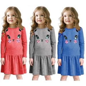 Cat Baby Girls Dress Long Sleeve Jumpers Blouses Children Clothes Girl Dresses Princess Cotton Outfits 90 100 110 120 130