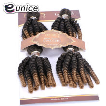 Eunice HAIR Synthetic Weave Funmi Curly Hair Bundles 4Pieces One Set Natural Soft Ombre Brown 18-20 inch Hair Extensions 200Gram(China)