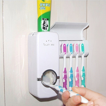 Acessórios do banheiro Conjunto Suporte de pasta de dentes espremedor de dentes automático Suporte de escova de dentes Otário Sucção Suporte de parede Ferramentas de rack 1