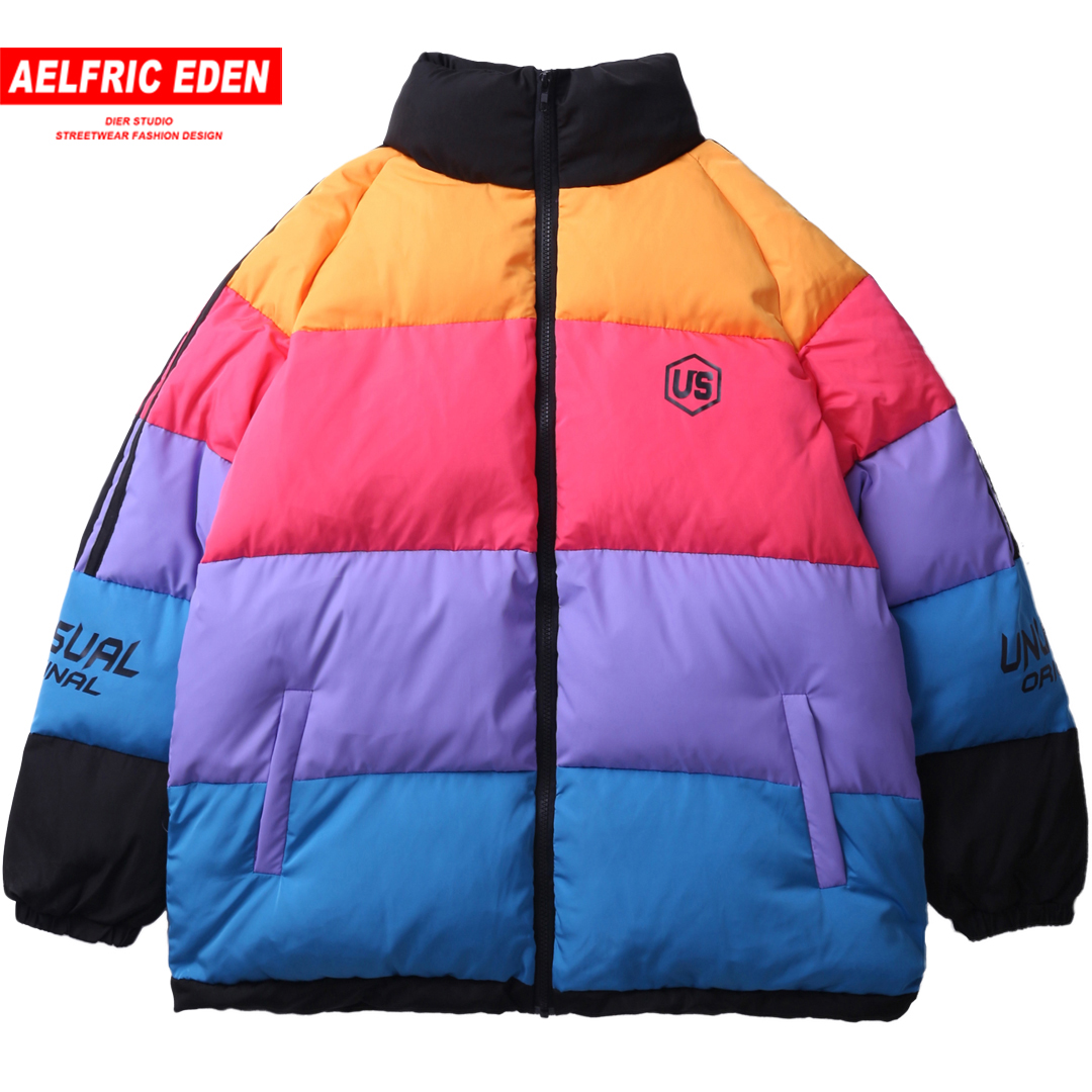 Aelfric Eden Color Block Winter Thick Mens Parkas Harajuku Rainbow Hip Hop Windbreaker Streetwear Warm Jackets Coat Outwear UN11-in Parkas from Men's Clothing    1