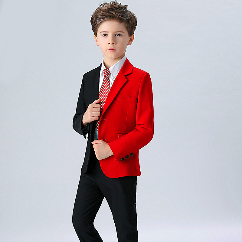 6dc5791c8 2018 New Fashion Red Balck Baby Boys Suit Kids Blazers Boy Suit For ...
