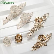 bowarepro Antique Rose Cabinet Handle Door Drawer Dresser Cupboard Pull Handle and Knob Kitchen Ceramic Cabinet Knob Rose Flower