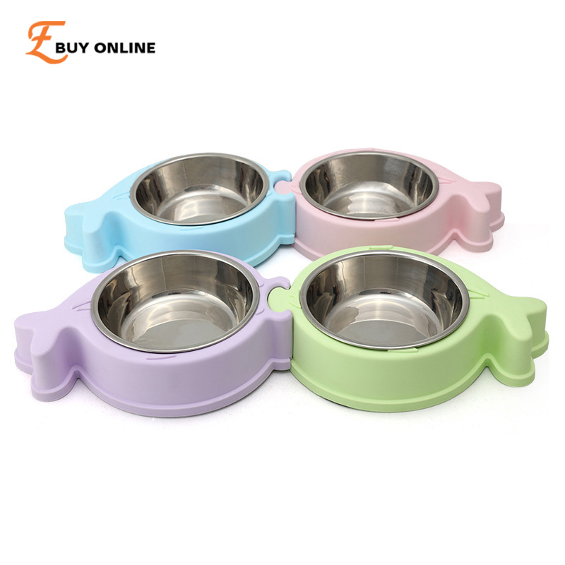 Detachable two in one plate fish shape pet feeder plastic for Plastic fish bowls bulk