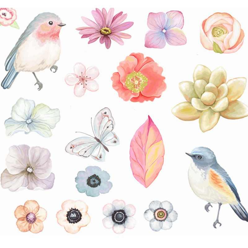 Decorative Stickers Creative Transparent PVC Cute Romatic Flowers Birds Album Diary Scrapbooking Stickers Pack Kids Toys Gifts