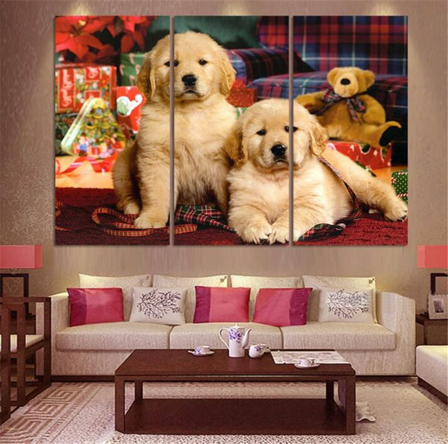 2017 Hot Sale 3panel Abstract Canvas Lovely Dog Oil Painting On Wall Pictures For Living Room Decor Animals Paintings Picture