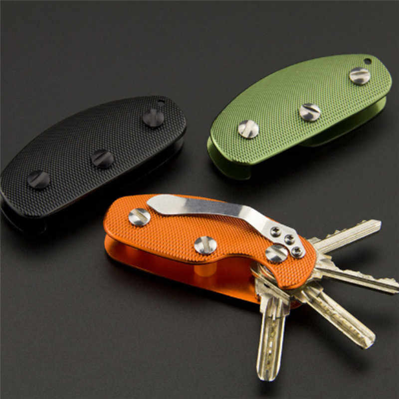 Bycobecy Aluminum Smart Car Key Holder Wallet Folder Metal Key Chain Ring Diy Edc Pocket Key Organizer Organizer Clip Collector