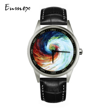 Enmex design wristwatch Canvas strap waterproof creative design stainless steel case 3D Oil Painting face  quartz sport watch canvas strap watch with flower face