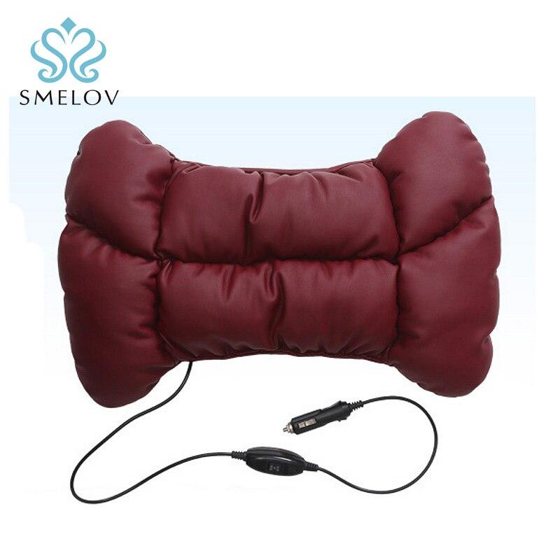 12V Electric adjustable Vibration chair Car Massager pads Waist Pillow pu leather cotton Car Seat Back Lumbar Support Cushion