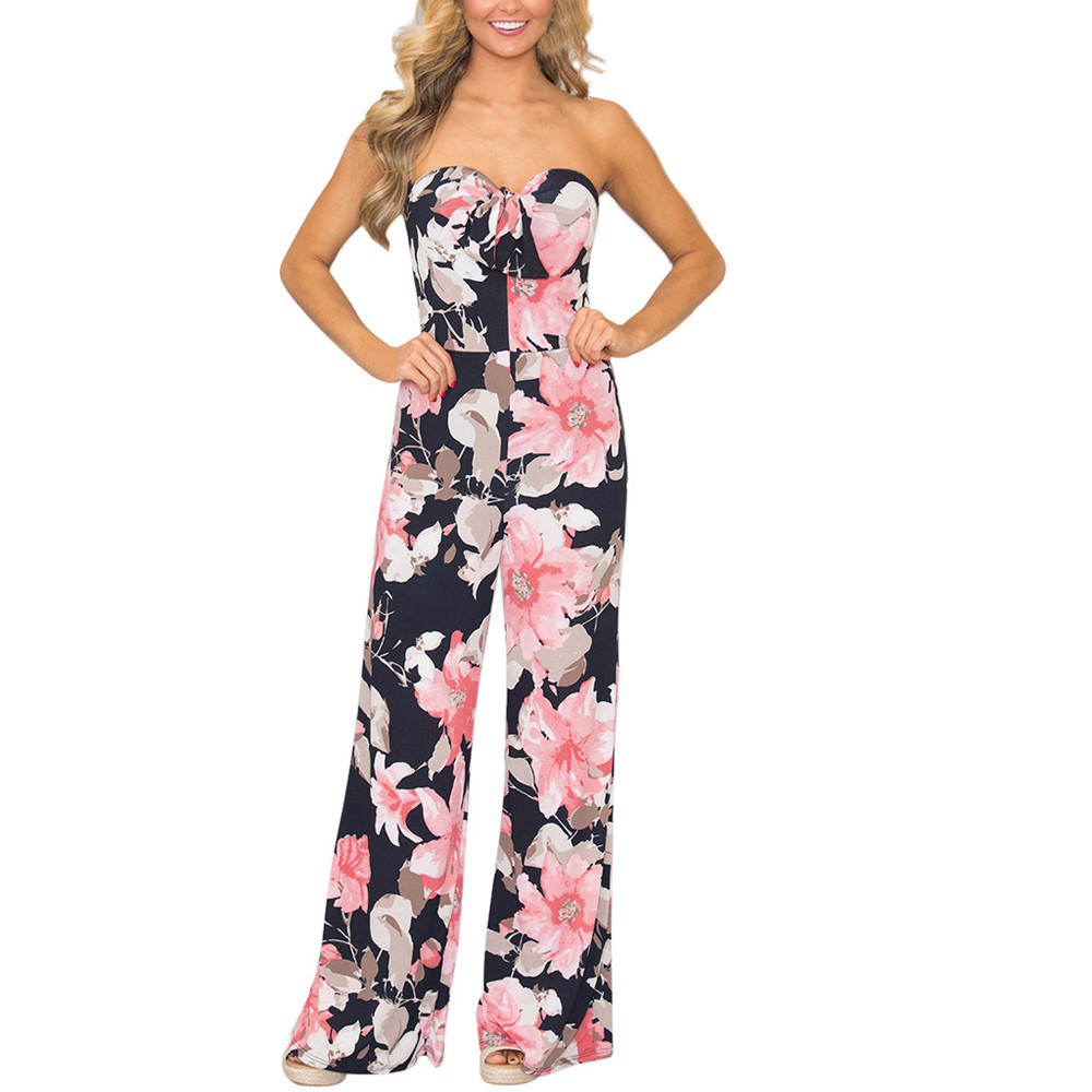 2018 Summer hot Women long jumpsuit Floral Off Shoulder Bow Sexy Party playsuits daily casual print sleeveless rompers