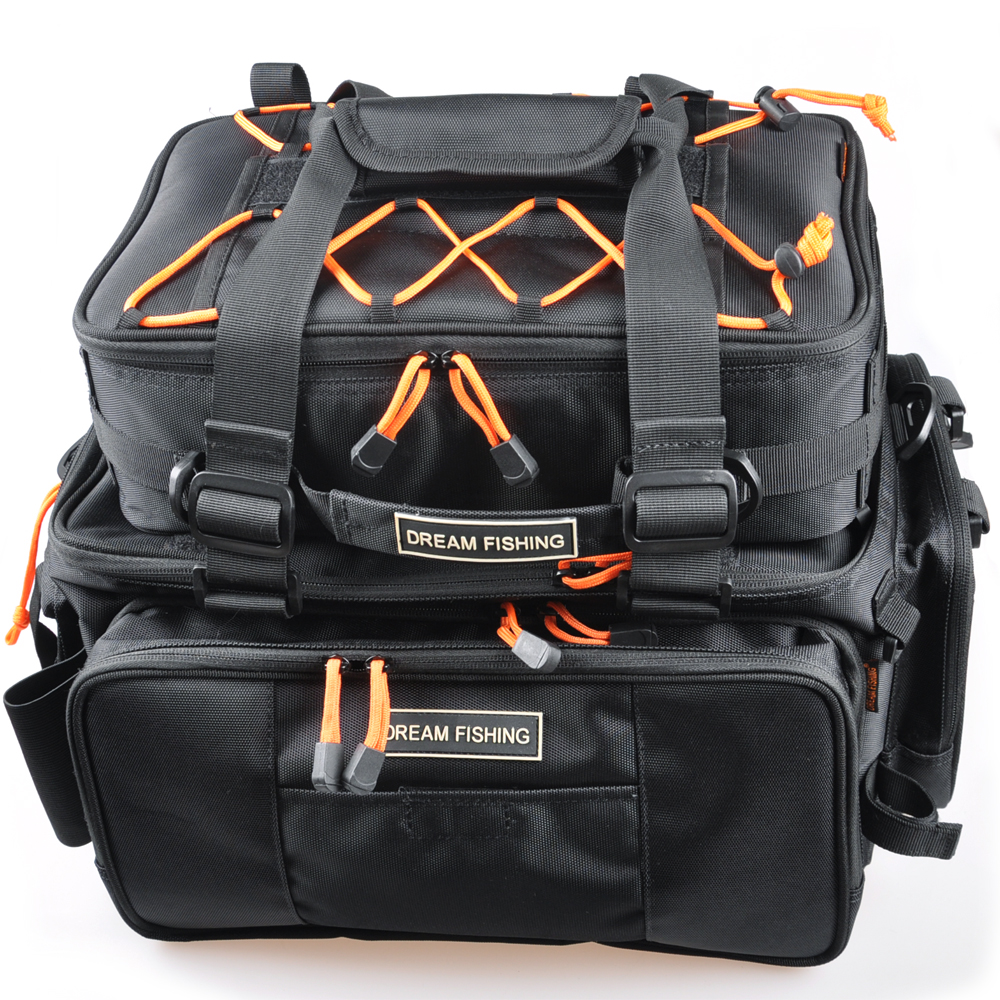 цена на 45.5*25*21cm Black Multifunctional Fishing Tackle Bag 2 Bags Bolsa De Pesca Waterproof Fly Fishing Bag Outdoor Bag For Fishing