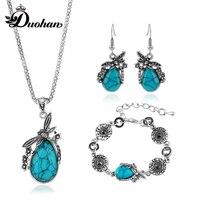 Duohan Vintage Owl Pattern Design Red Black Gemstone Antique Silver Fetured Necklace Jewelry Set Matching Bracelet