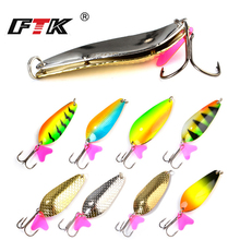 FTK  new 1PC 24g 30g 35g 42g Spoon Fishing Lure With Hook Hard Metal Jigging Baits carp