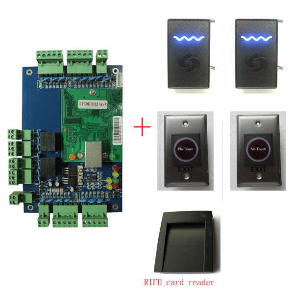 TCP/IP 2 door 2 ways Access Control board + 2PCS 125Khz RFID Card Reader & Infrared Switch For Access Control System
