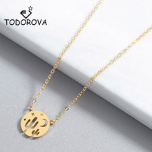 Todorova Round Desert Night Charm Necklace Rose Gold Sky Crescent Moon Star Cactus Pendant Necklaces for Women Dainty Jewelry цена