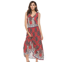 Summer Dress 2017 Vintage Boho Floral Maxi Dress V Neck Sleeveless Lady Casual Tank Dress Ankle